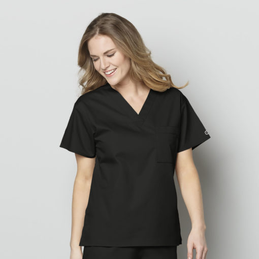Black Unisex V-Neck Top