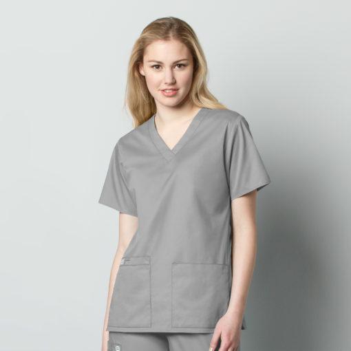 Grey Women's V-Neck Top