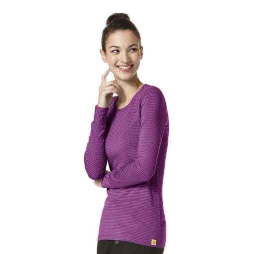 LONG SLEEVE STRIPED TEE ELECTRIC VIOLET/RASPBERRY