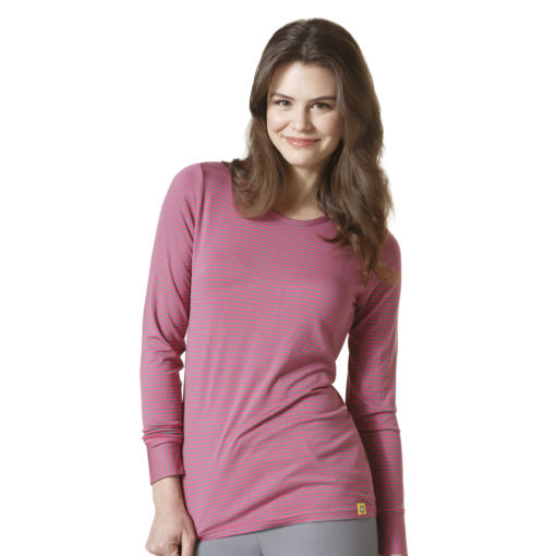 LONG SLEEVE STRIPED TEE PEWTER/HOT PINK