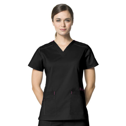 WONDERFLEX VERITY V-NECK TOP BLACK