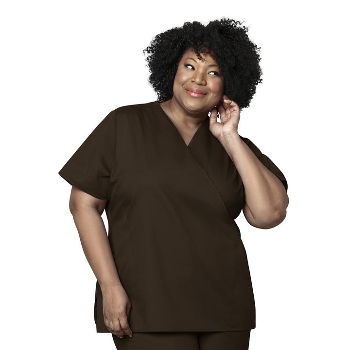 Chocolate Women's Mock Wrap Top