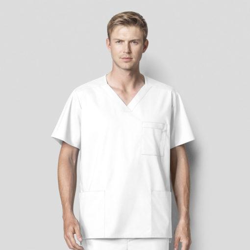 White Men's V-Neck Top