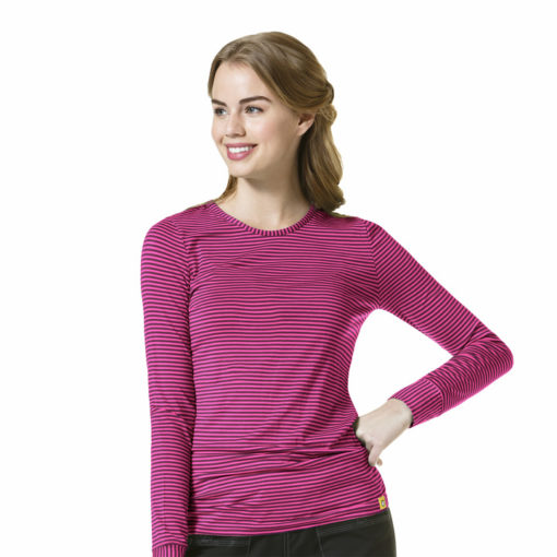 Wine/Hot Pink Long Sleeve Striped Tee