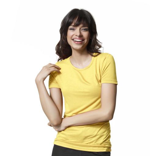 Yellow Silky Knit Short Sleeve Tee