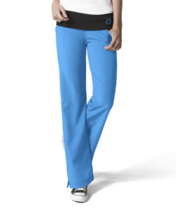Malibu Blue Fold Over Knit Waist Pant