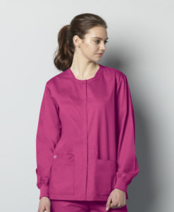 Fuchsia Unisex Snap Front Jacket