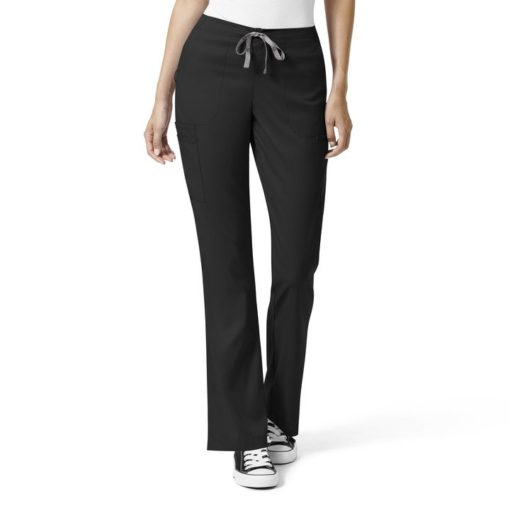 Black W Mod Flare Leg Cargo Pant