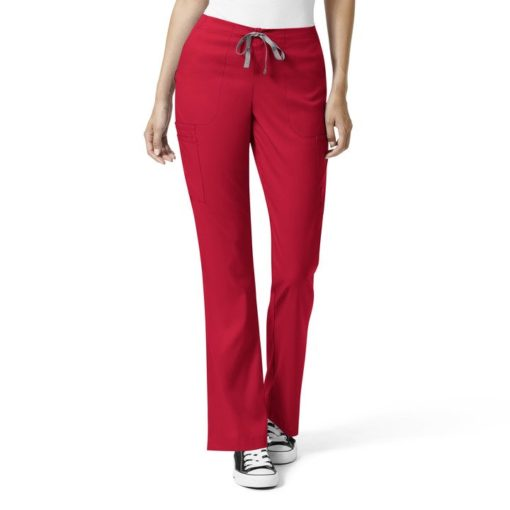 Red W Mod Flare Leg Cargo Pant