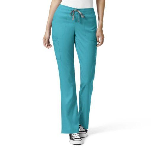 Teal Blue W Mod Flare Leg Cargo Pant