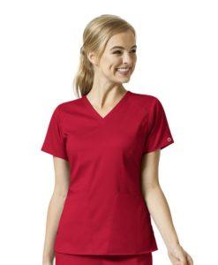 Red Women's 4 Pocket V-Neck Top