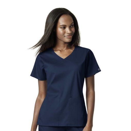 Navy Women's 4 Pocket Wrap Top