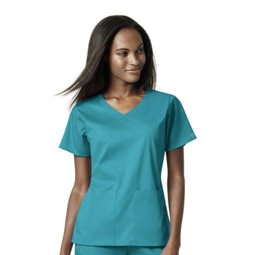 Teal Blue Women's 4 Pocket Wrap Top