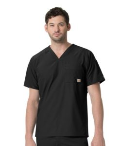 Black Men's Slim Fit V-Neck Top